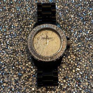 Peugeot black watch crystal baguette bezel